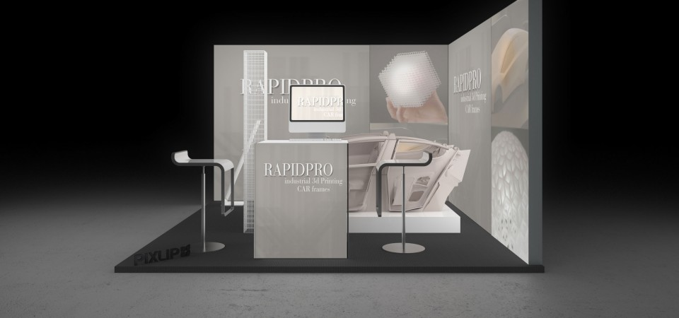 Backlit trade fair booth