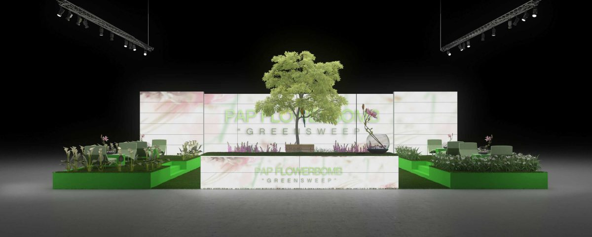 Exhibition Booth Outdoor : Backlit exhibition booth garten outdoor ambiente